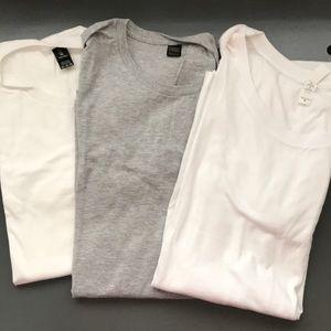 3 brand new t shirts - white & gray -Anvil - Bella